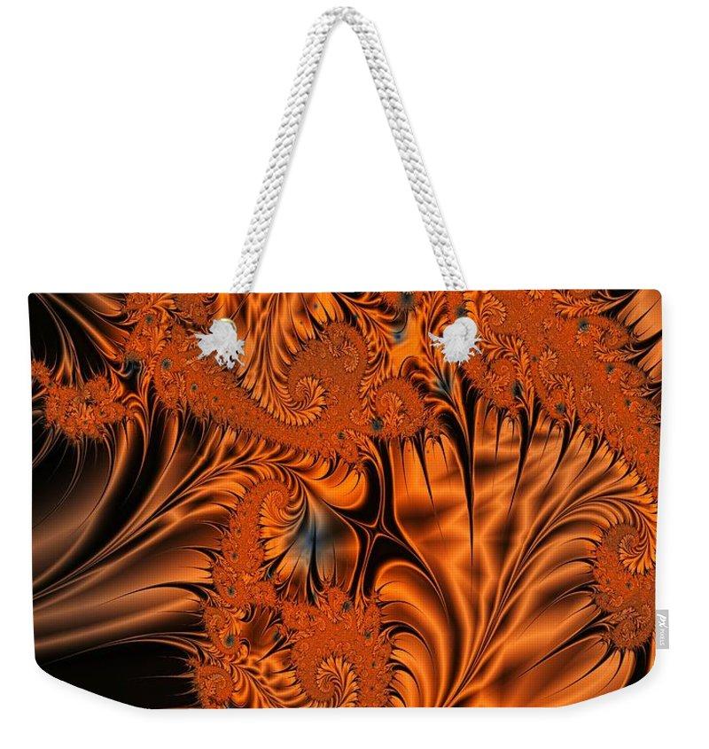 Silk Weekender Tote Bag featuring the digital art Silk In Orange by Ron Bissett