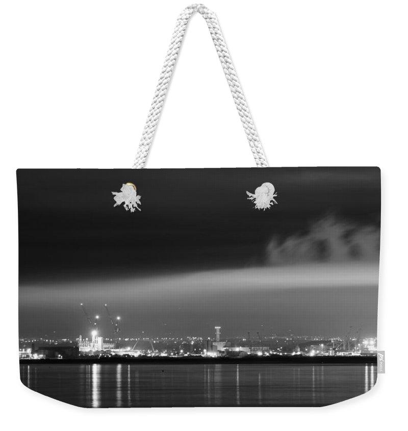 Dublin Weekender Tote Bag featuring the photograph Silk Night Dublin Bay by Robert Phelan