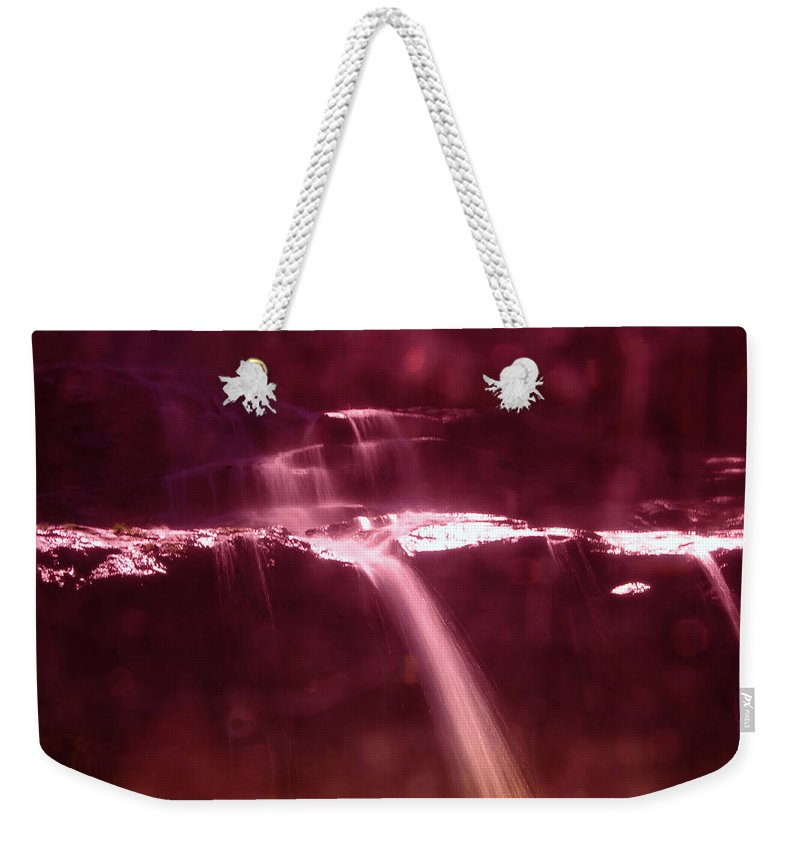 Waterfalls Weekender Tote Bag featuring the photograph Silk Off The Rocks by Jeff Swan