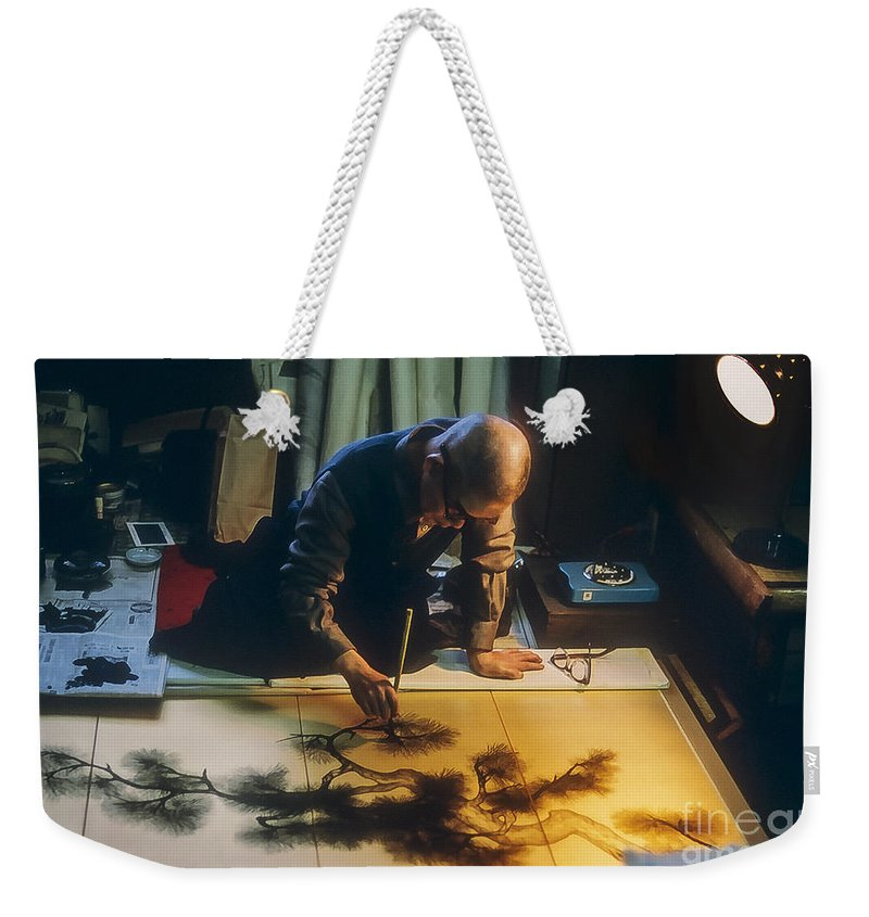 Tokyo Japan Artist Artists Silk Screen Artwork Man Men Person Persons People Creature Creatures Odds And Ends Weekender Tote Bag featuring the photograph Silk Screen Artist by Bob Phillips