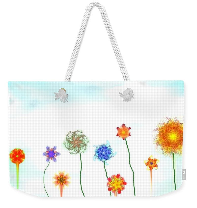Fantasy Weekender Tote Bag featuring the digital art Silly Fractal Garden by David Lane
