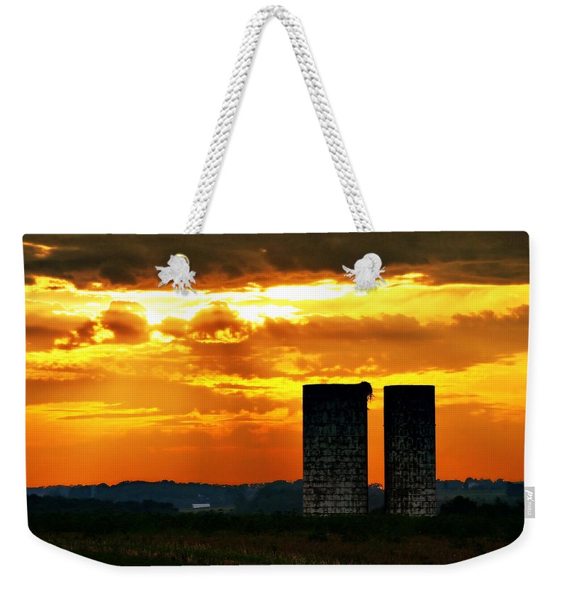 Landscape Weekender Tote Bag featuring the photograph Silos At Sunset by Michelle Joseph-Long