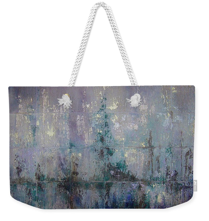 Abstract Weekender Tote Bag featuring the painting Silver And Silent by Shadia Derbyshire