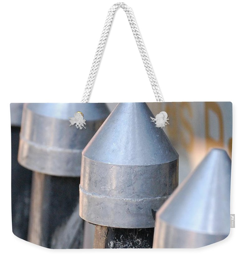 Gate Weekender Tote Bag featuring the photograph Silver Bullets by Debbi Granruth
