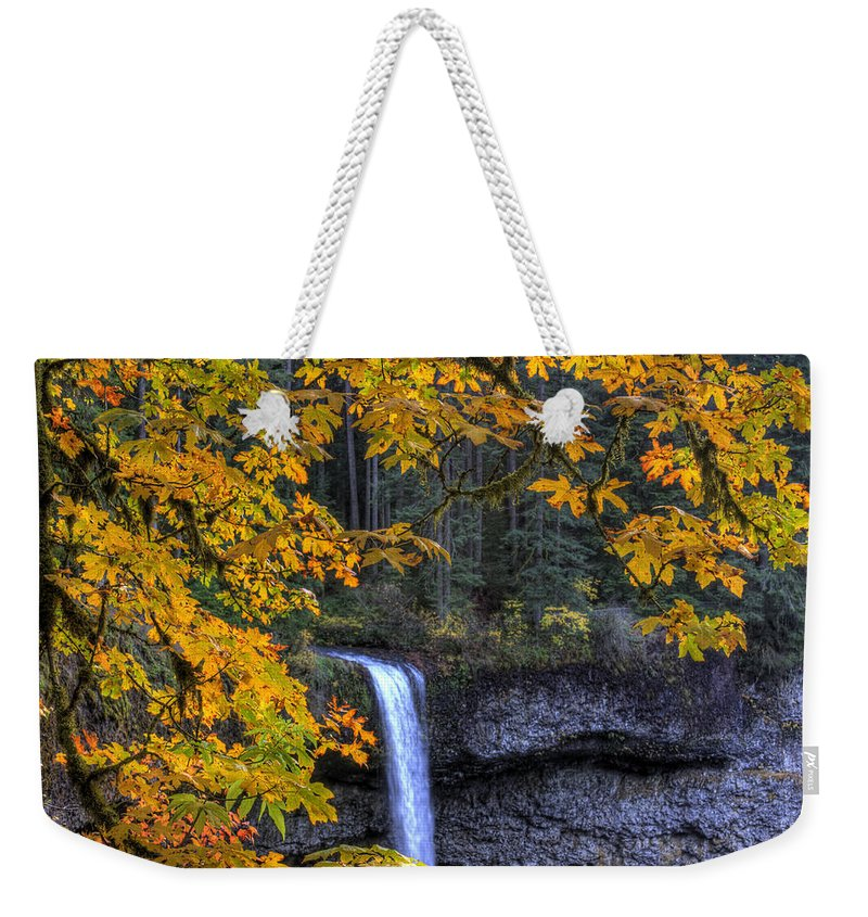 Landscape Weekender Tote Bag featuring the photograph Silver Falls State Park Oregon by Lee Santa