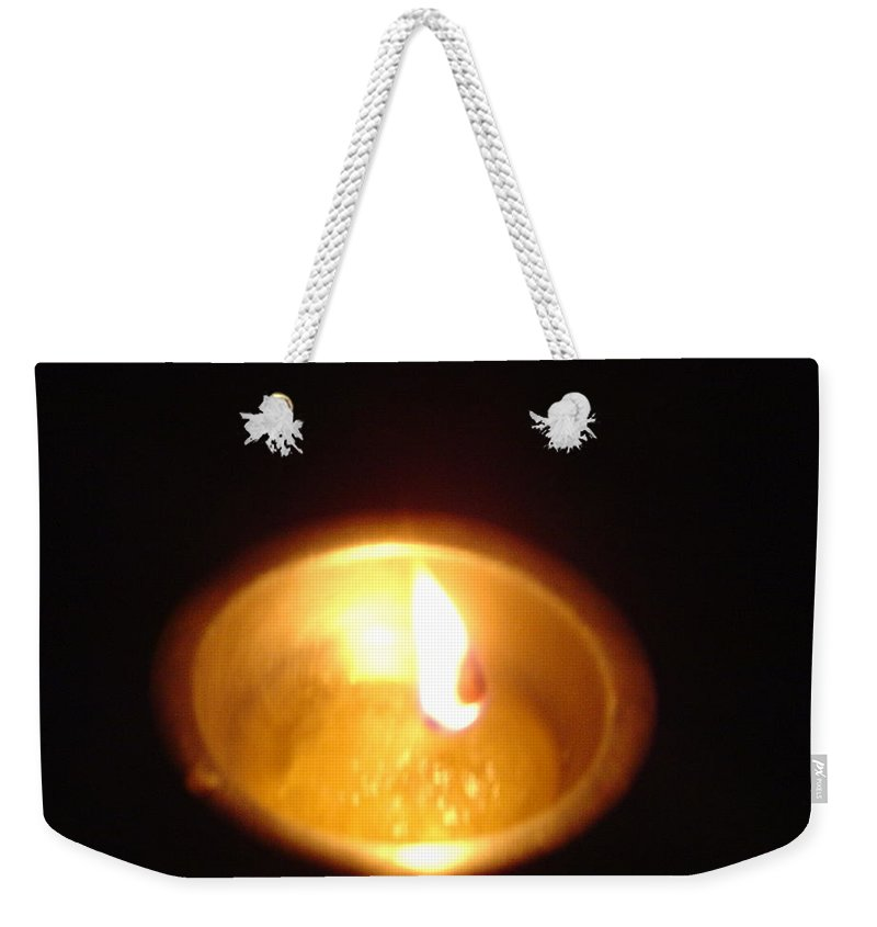 Indian Weekender Tote Bag featuring the photograph Silver Lamp by Usha Shantharam