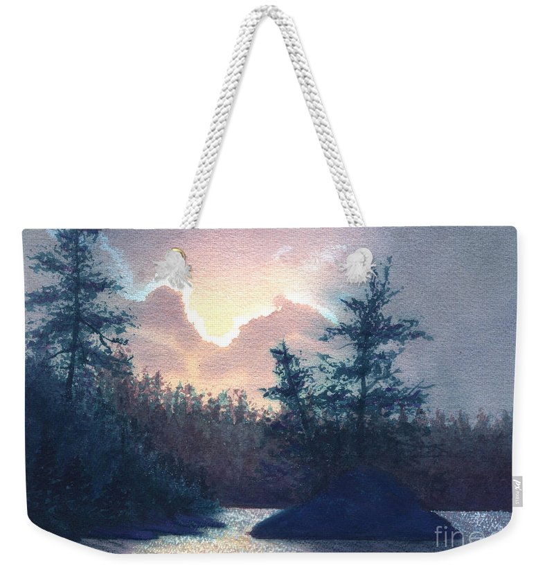 Landscape Weekender Tote Bag featuring the painting Silver Lining by Lynn Quinn