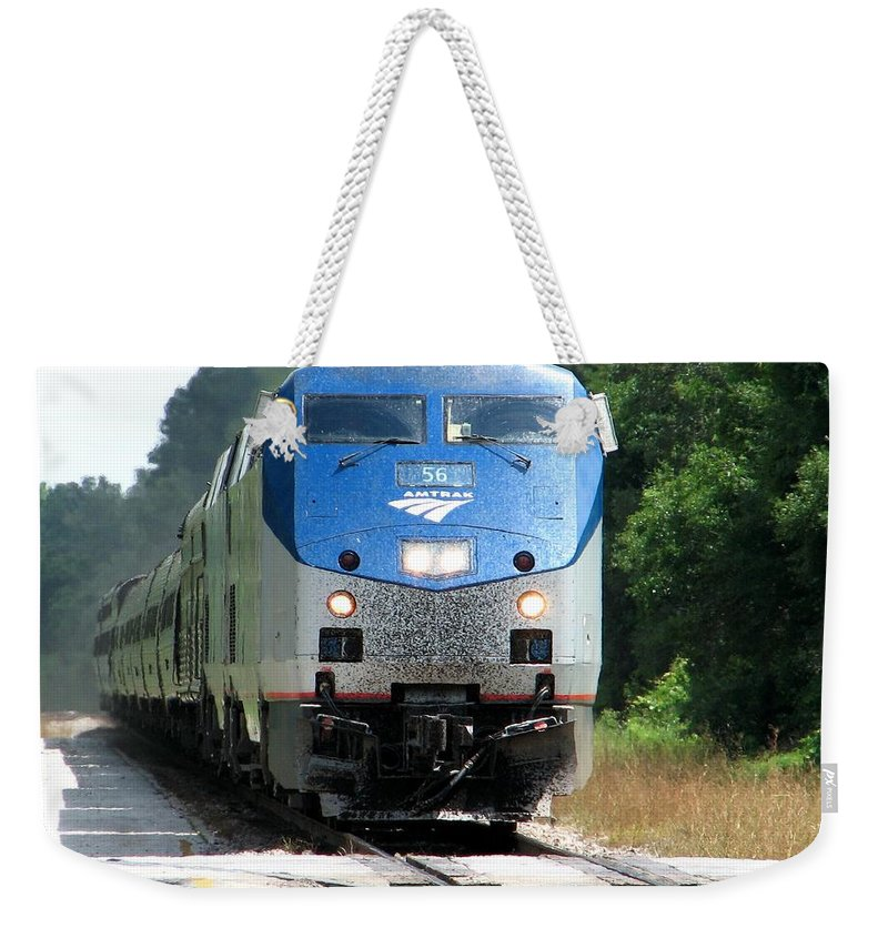 Train Weekender Tote Bag featuring the photograph Silver Meteor by Lesley Giles
