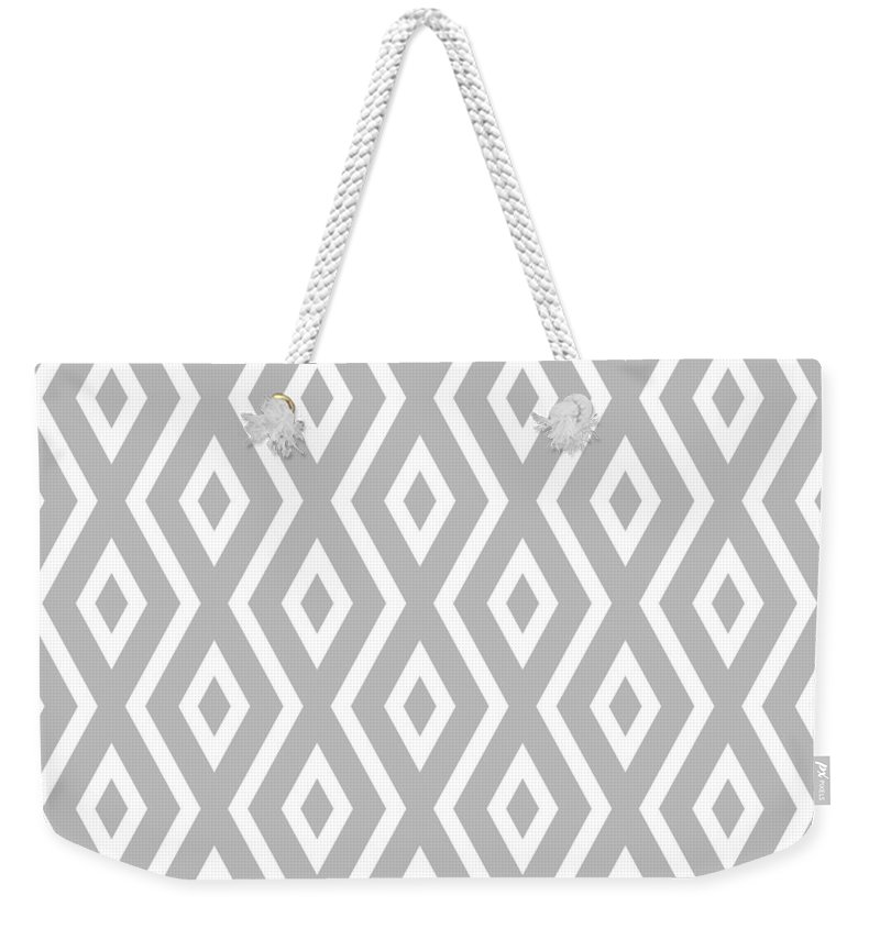 Silver Weekender Tote Bag featuring the mixed media Silver Pattern by Christina Rollo