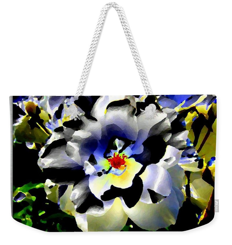 Rose Weekender Tote Bag featuring the digital art Silver Rose by Will Borden