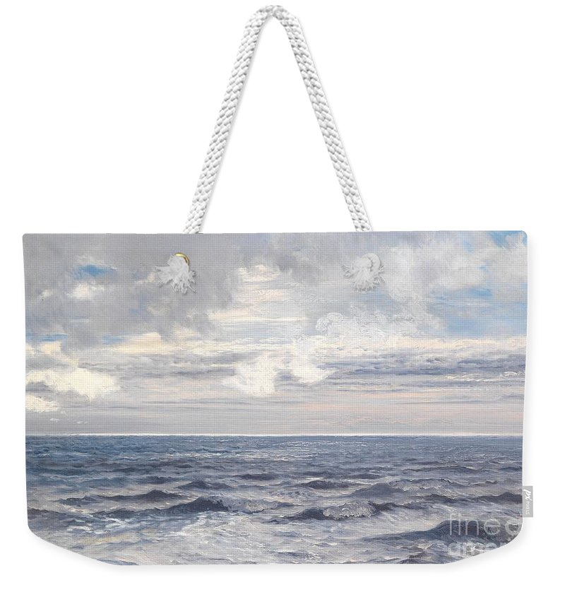 Seascape Weekender Tote Bag featuring the painting Silver Sea by Henry Moore