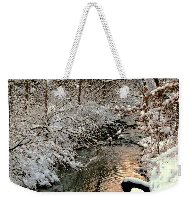 Winter Weekender Tote Bag featuring the photograph Silvered Shores by Tami Quigley