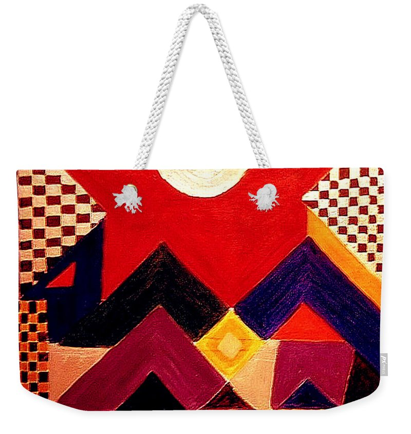 Abstract Weekender Tote Bag featuring the painting Silvery Moon by Rusty Gladdish