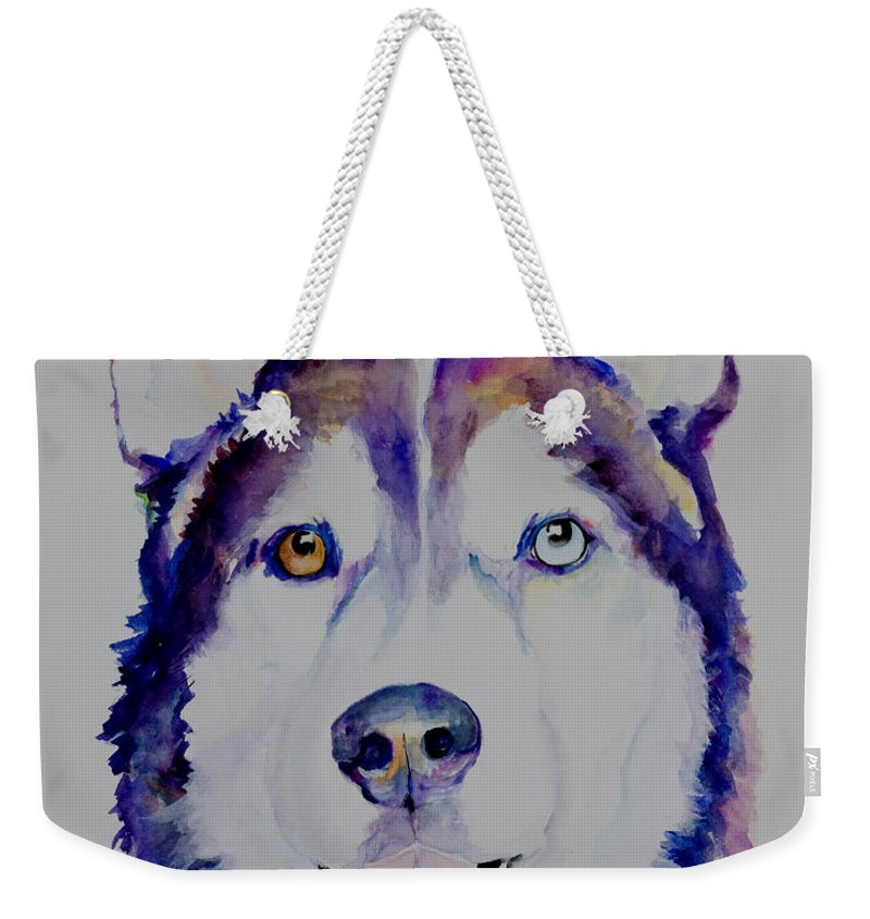 Siberian Husky Weekender Tote Bag featuring the painting Simba by Pat Saunders-White