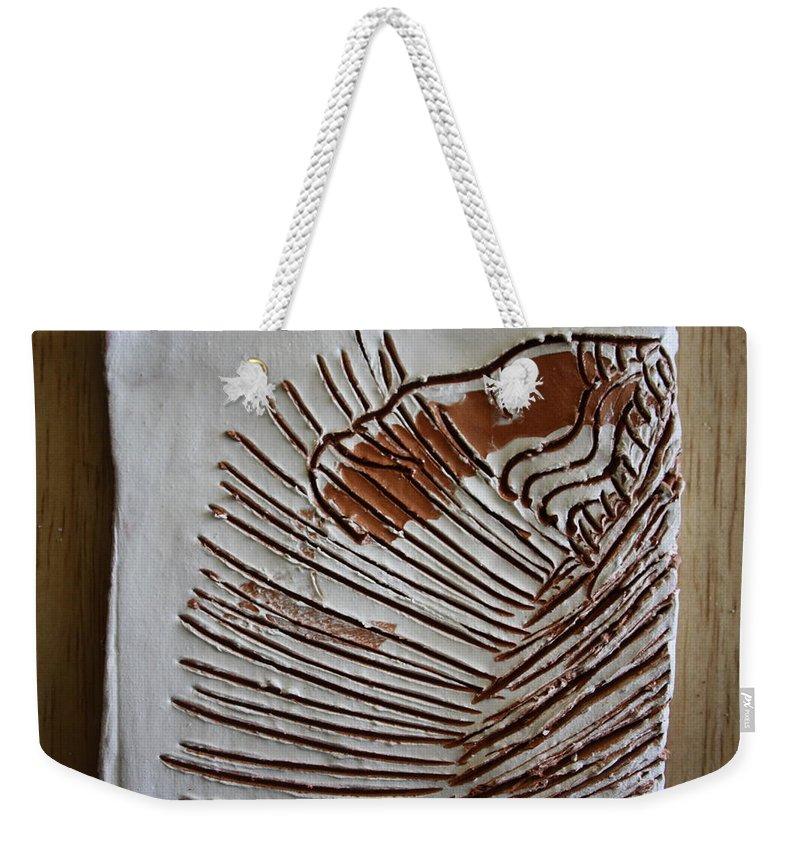 Jesus Weekender Tote Bag featuring the ceramic art Simeon - Tile by Gloria Ssali