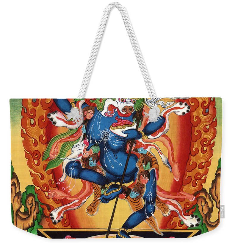 Thangka Weekender Tote Bag featuring the painting Simhamukha - Lion Face Dakini by Sergey Noskov