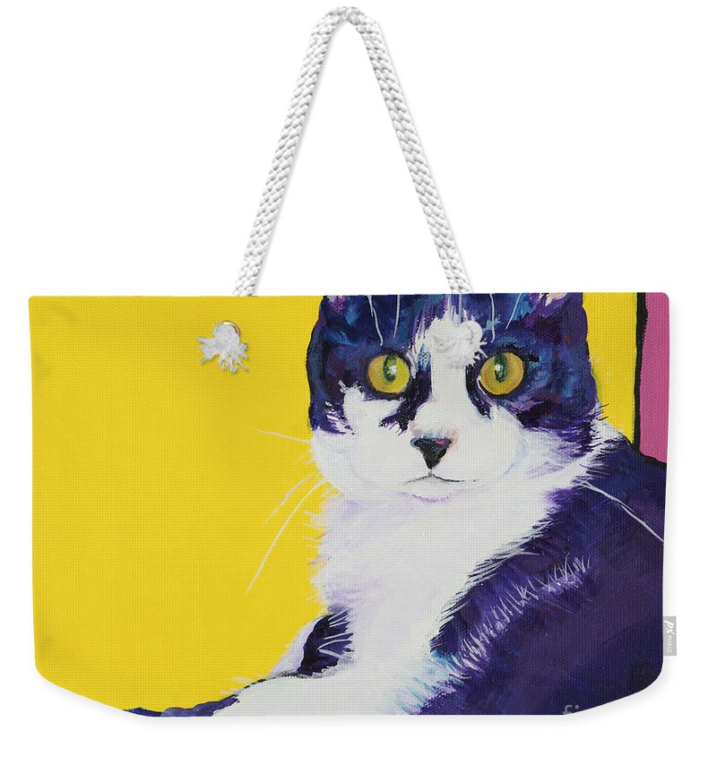 Tuxedo Cat Weekender Tote Bag featuring the painting Simon by Pat Saunders-White