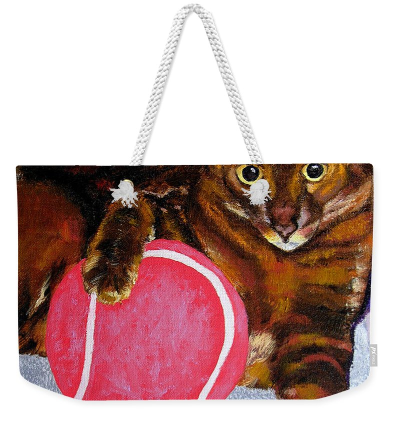Cat Weekender Tote Bag featuring the painting Simon by Stan Hamilton