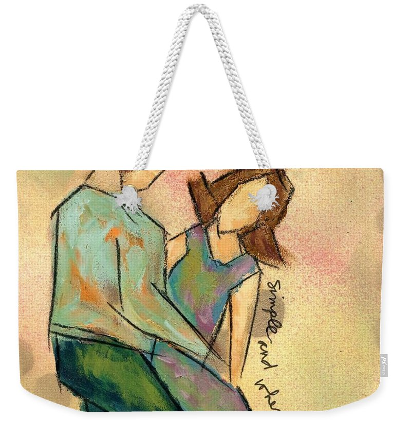 Love Weekender Tote Bag featuring the painting Simple And When by Hew Wilson