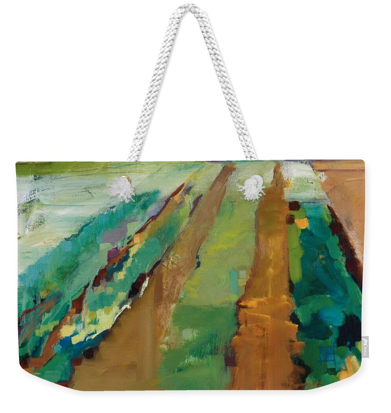 Impressionistic Landscape Weekender Tote Bag featuring the painting Simple Fields by Michele Norris