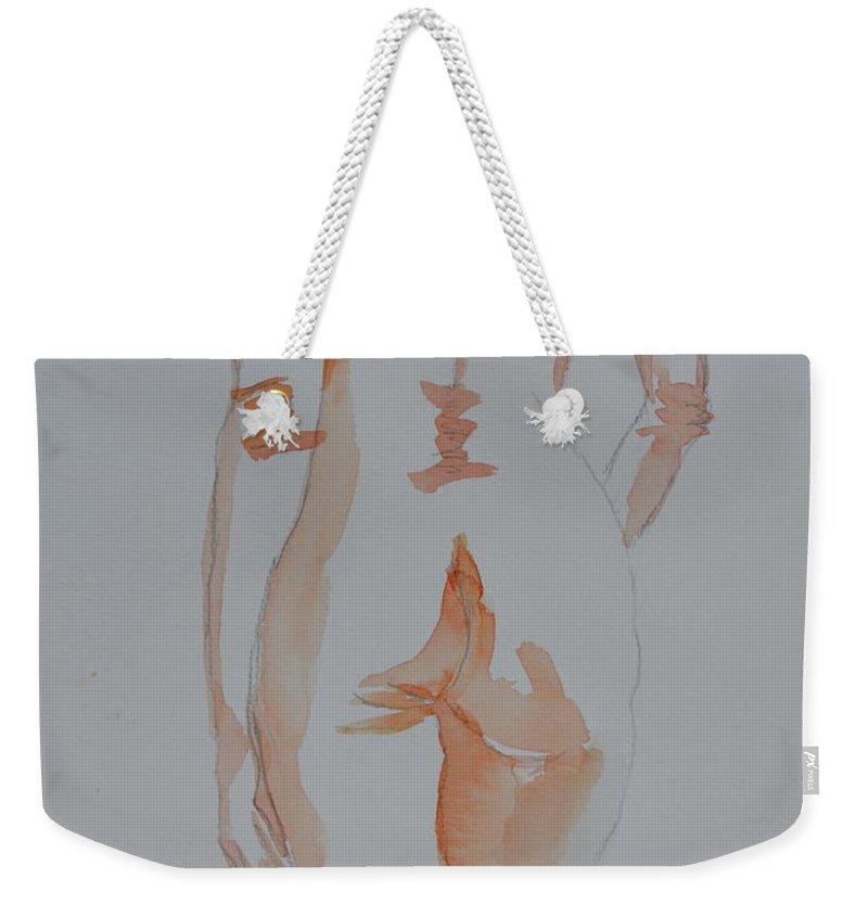 Nude Weekender Tote Bag featuring the painting Simple Nude by Beverley Harper Tinsley