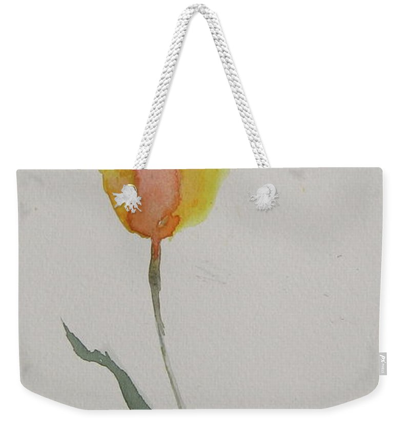 Tulip Weekender Tote Bag featuring the painting Simplest Tulip by Beverley Harper Tinsley