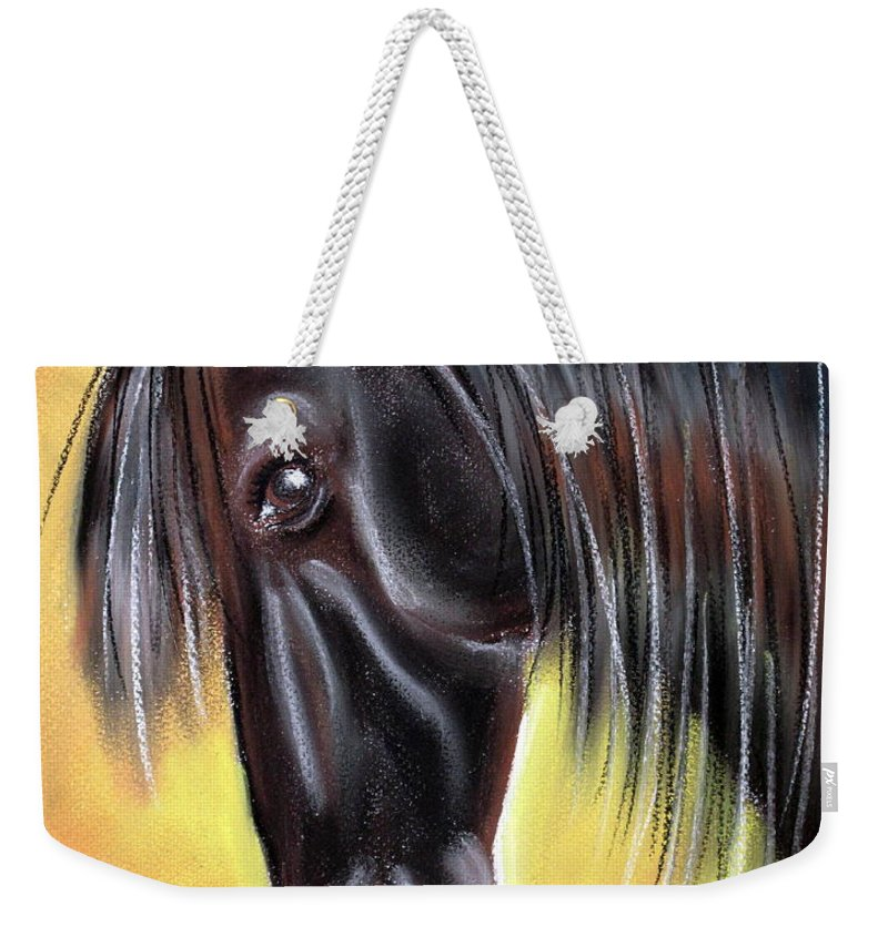 Horse Weekender Tote Bag featuring the pastel Simply Black by Jo Hoden