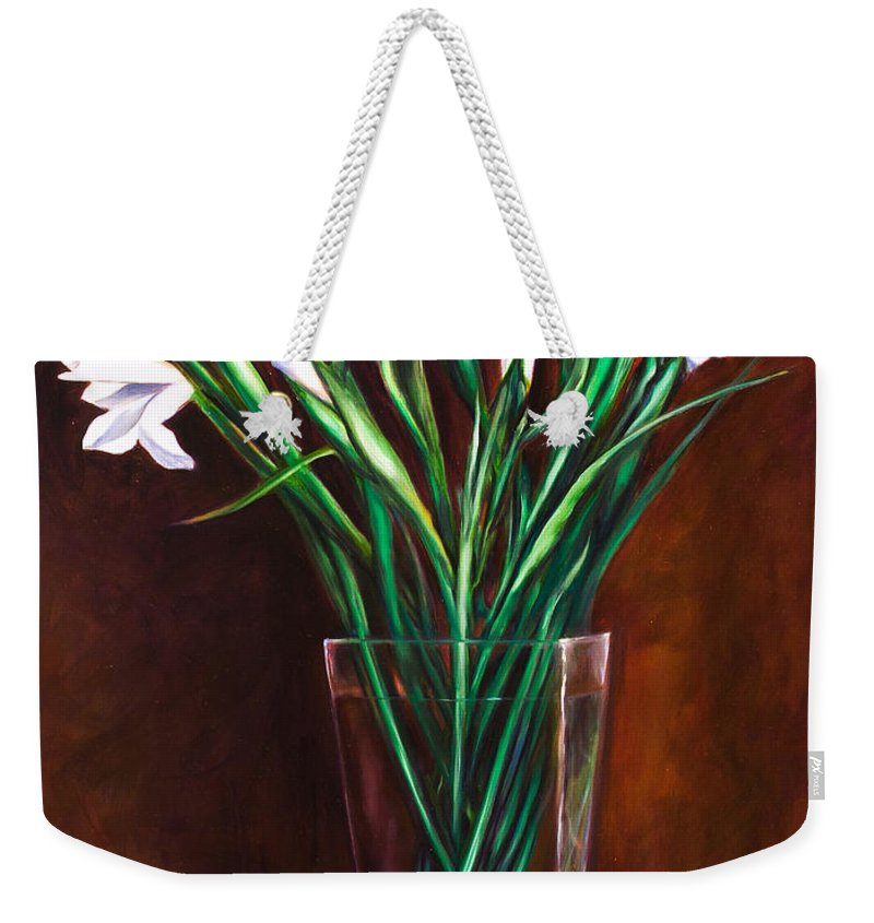 Iris Weekender Tote Bag featuring the painting Simply Iris by Shannon Grissom