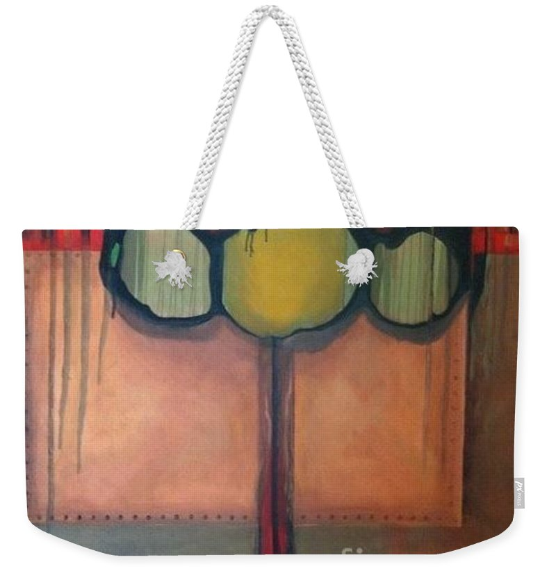 Metallic Weekender Tote Bag featuring the painting Simply Riveting by Marlene Burns