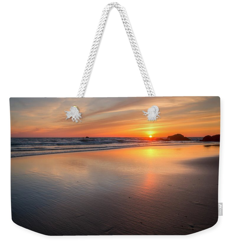 Oregon Sunset Weekender Tote Bag featuring the photograph Simply Sunset by Kristina Rinell