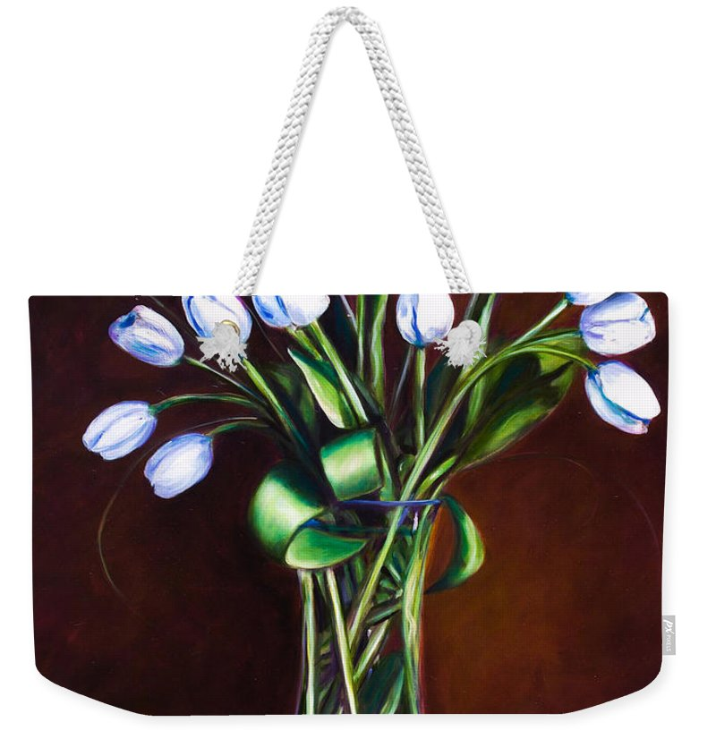 Shannon Grissom Weekender Tote Bag featuring the painting Simply Tulips by Shannon Grissom