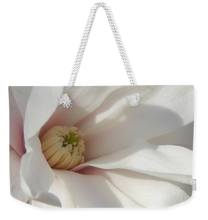 Weekender Tote Bag featuring the photograph Simply White by Luciana Seymour