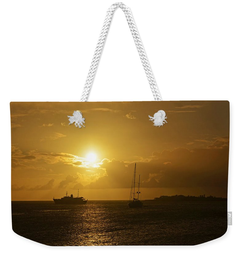 Simpson Weekender Tote Bag featuring the photograph Simpson Bay Sunset Saint Martin Caribbean by Toby McGuire