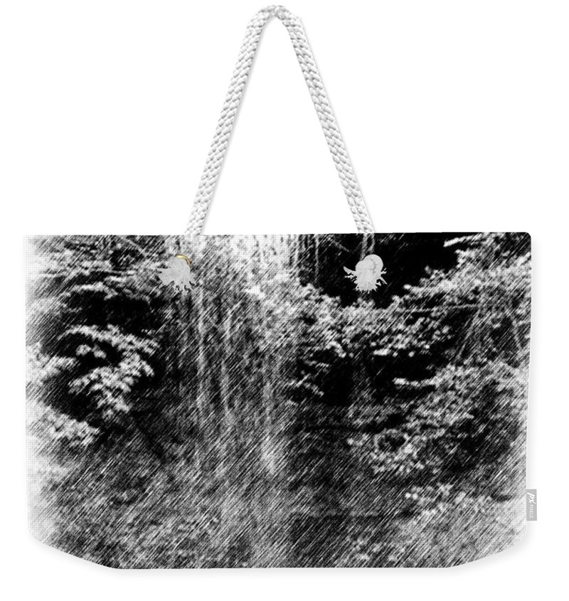 Digital Photograph Weekender Tote Bag featuring the photograph Simulated Pencil Drawing Tinker Falls. by David Lane