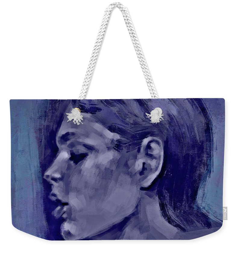 Portrait Retrato Impressionism Expresionism Sin Nombre Weekender Tote Bag featuring the digital art Sin Nombre by M A Ibanez