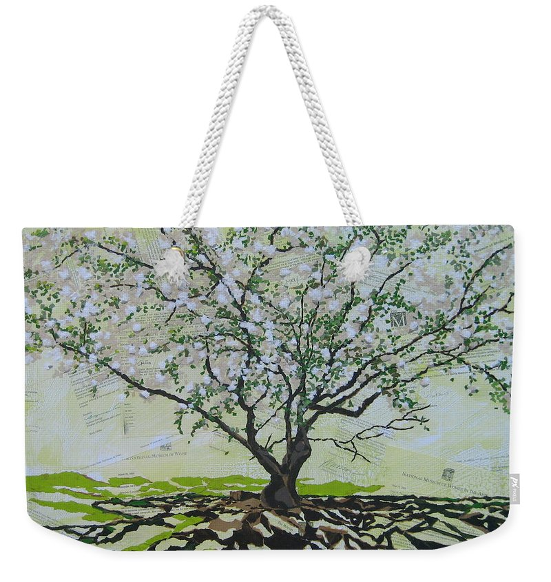 Apple Tree Weekender Tote Bag featuring the painting Sincerely-the Curator by Leah Tomaino