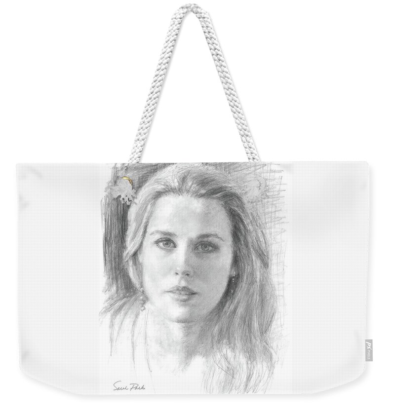 Portrait Weekender Tote Bag featuring the drawing Sincerity by Sarah Parks