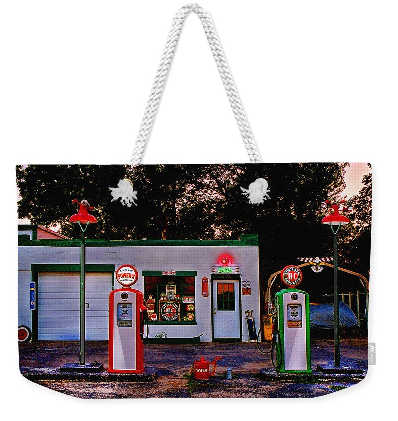 Gas Station Weekender Tote Bag featuring the photograph Sinclair by Steve Karol
