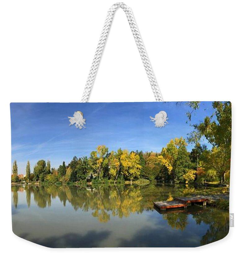 Sindelfingen Weekender Tote Bag featuring the photograph Sindelfingen Germany Lake Klostersee Panorama by Matthias Hauser