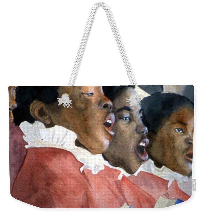 Choir Weekender Tote Bag featuring the painting Sing Out Your Joy by Jean Blackmer