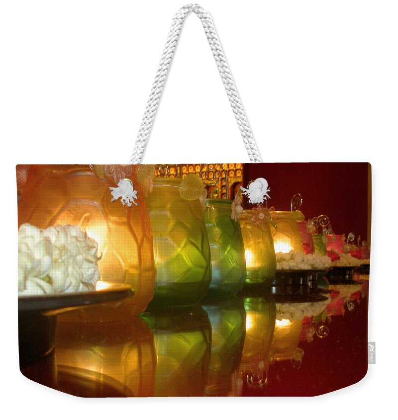 Singapore Weekender Tote Bag featuring the photograph Singapore Temple Offering Lamps by Mark Sellers