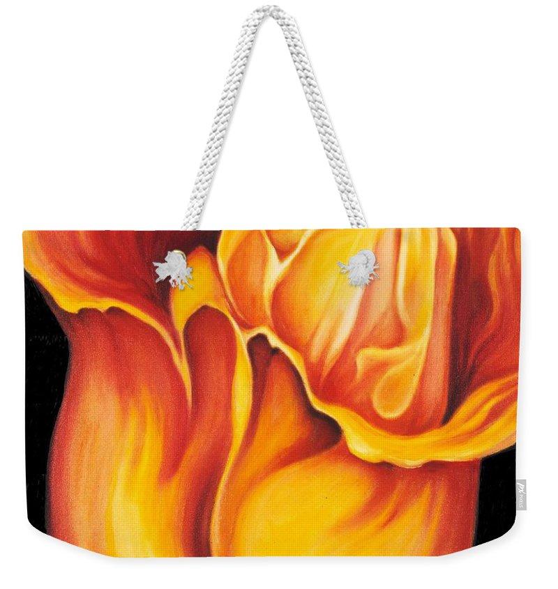 Surreal Tulip Weekender Tote Bag featuring the painting Singing Tulip by Jordana Sands