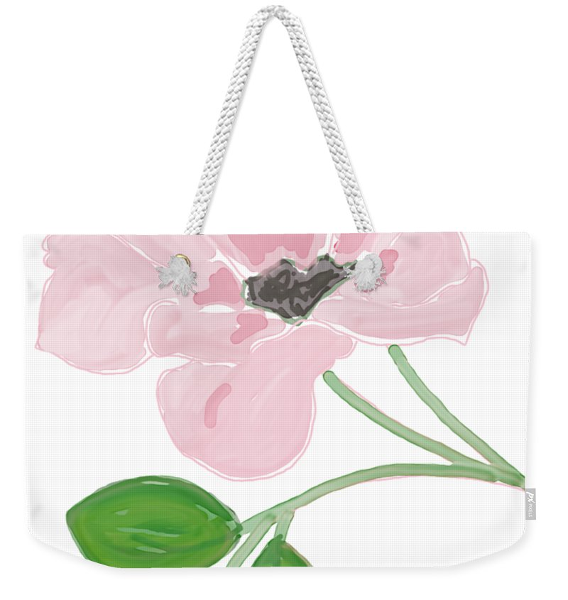 Single Pink Flower Weekender Tote Bag featuring the painting Single Pink Flower by Priscilla Wolfe