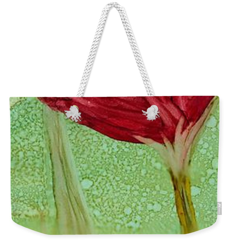 Poppy Weekender Tote Bag featuring the painting Single Poppy by Debora Boudreau
