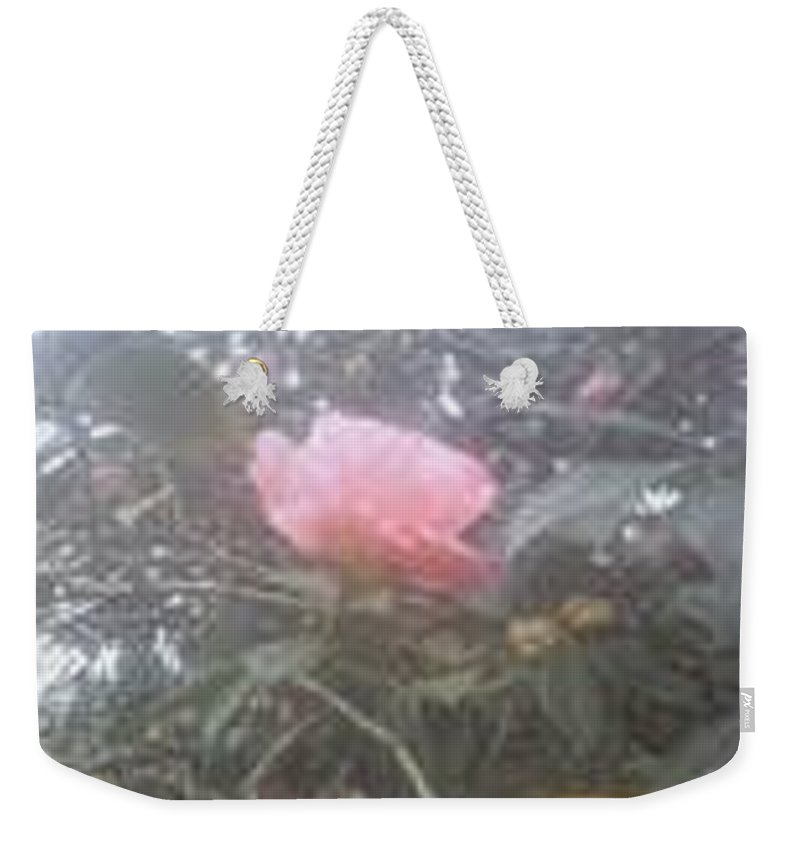 Single Pink Rose Weekender Tote Bag featuring the photograph Single Rose by R Chambers