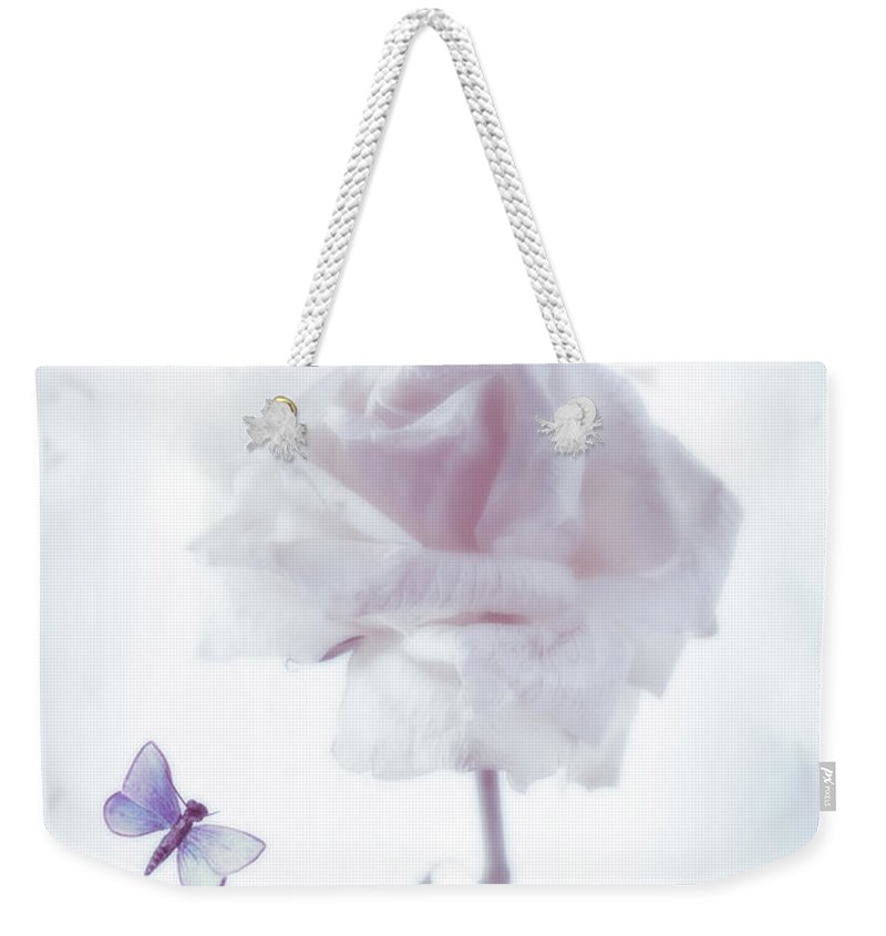 Single Weekender Tote Bag featuring the photograph Single Rose Stem by Amanda Elwell