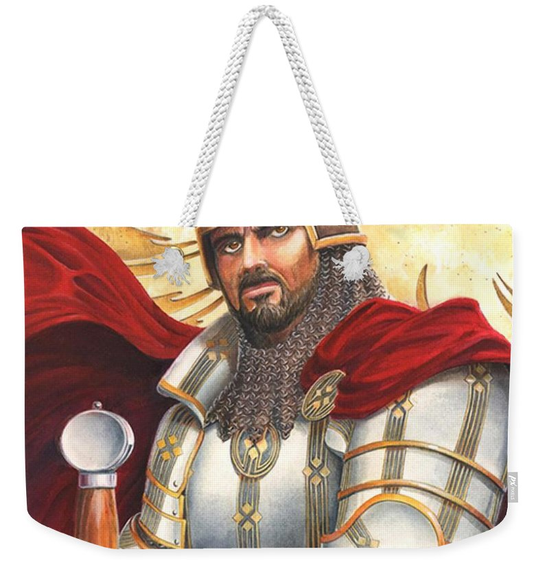 Swords Weekender Tote Bag featuring the drawing Sir Gawain by Melissa A Benson