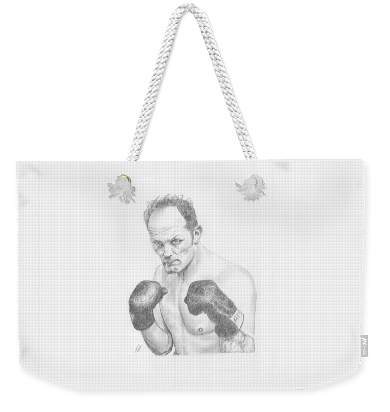 Sir Henry Cooper Obe - 1934-2011 Was An English Heavyweight Boxer Known For The Sheer Power Of His Left Hook (enry's Ammer). He Held The British Weekender Tote Bag featuring the drawing Sir Henry Cooper Obe by Keith Miller