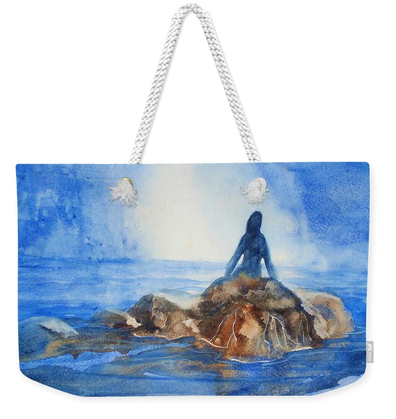 Mermaid Weekender Tote Bag featuring the painting Siren Song by Marilyn Jacobson