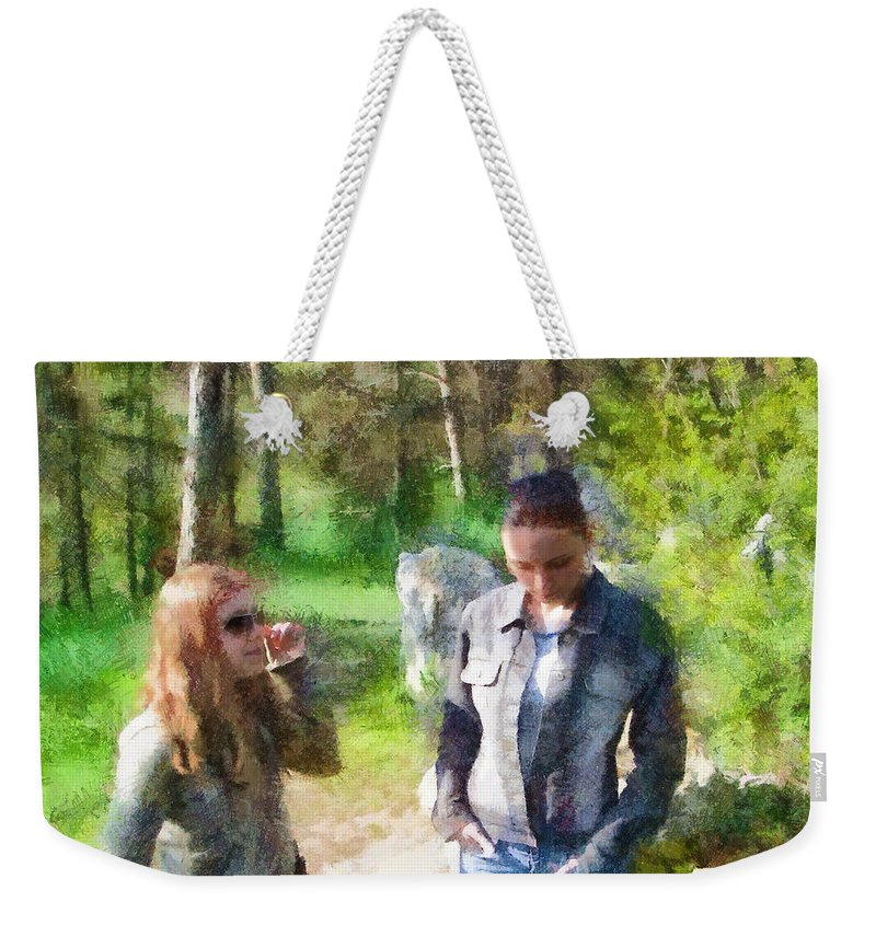 Sisters Weekender Tote Bag featuring the painting Sisters by Jeffrey Kolker